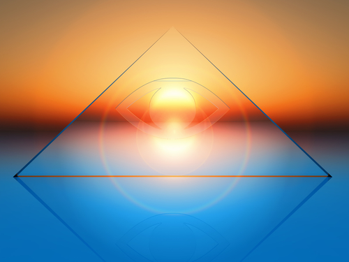 Triangle in front of glowing sky
